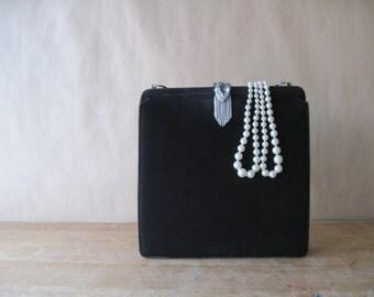 Vintage Black Suede Purse Handbag, Rhinestone Clasp, 1950's Fashion, Bride Wedding