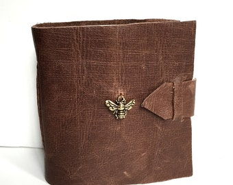 Brown Leather Mini Journal with Bee Charm