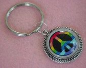 LGBT Gay Pride Rainbow Peace Sign Keychain Key Ring FREE SHIPPING