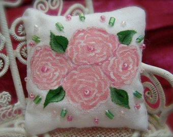 Pink Roses Miniature Dollhouse Pillow