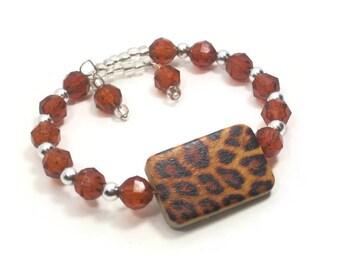 Memory Wire Wrap Bracelet, Fall Bracelet, Brown Leopard Print Bracelet