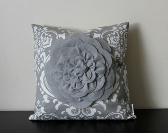 Decorative Throw Pillow Cover, Gray Mum Pillow Cover, Accent Pillow, Sofa Pillow, 14x14,16x16, Bedroom Pillow, Toss Pillow