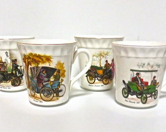 Staffordshire Bone China Coffee Cups/Mugs, Set of 4 Antique Cars Pattern, Made in England