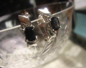 Sterling Silver Dark Sapphire Huggie Type Earrings 1343