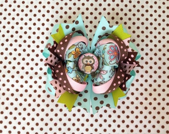 SALE! Ready To Ship Hairbow! Owl Hairbow, Spring Hairbow, Aqua And Brown Hairbow, Polka Dot Boutique Hairbow, Girls Hairbow