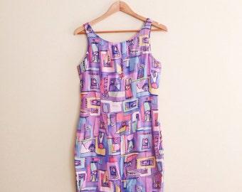 Vintage Cat & Bunny Print Dress / Novelty Print Pastel Shift Dress / Abstract Pink, Lavender Print Mini Dress  - 1980s