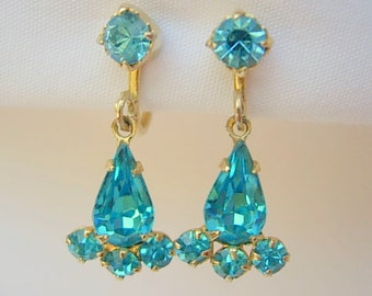 Coro Rhinestone Earrings Aqua Prong Set Rhinestones Vintage Screw Back Gold Tone Metal Dangling Dazzling Hallmark Used From 1919 - 1939