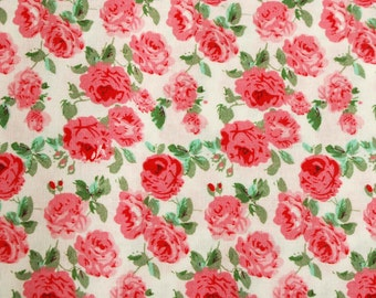 Pink Rose Cotton Fabric for Quilting and Sewing Projects, 100% cotton, Pretty Vintage Style