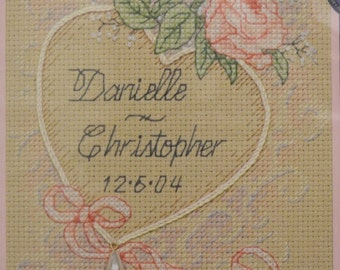 Wedding Heart - Completed Cross Stitch Decoration