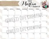 Dry Erase Custom Name & Photo Printable Calendar  Command Center Digital File