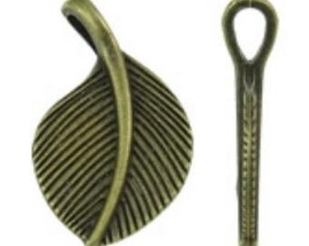 10pc antique bronze finish metal leaf pendants-8466
