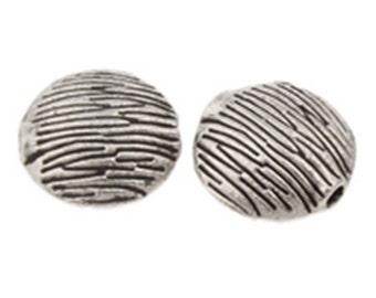 10pc 10mm flat round antique silver  metal beads-7132k