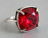 Vintage Ruby Red Swarovski Crystal Ring Adjustable Antique Silver Square Cushion