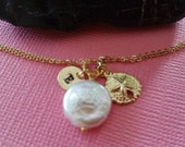 Gold Fill Charm Necklace - Double Chain, Pearl - Sand Dollar - Gold Initial Disc, Gold Twisted Ring,  Beach Wedding Theme, Summer Jewelry