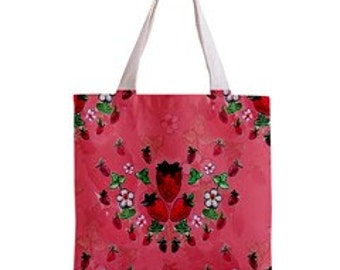 strawberry bag / tote bag / zippered bag / fruit print bag / pink tote bag / canvas tote / reusable bag / farmers market  / grocery tote /