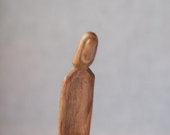 Obedience - modern wood sculpture, unique hand carved wood statue
