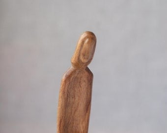 SALE Obedience - modern wood sculpture, unique hand carved wood statue