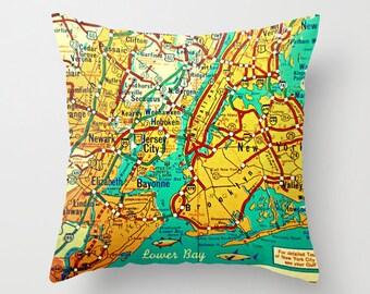 Custom New York Map Pillow Cover, New York City Pillow, New York Map Pillow, Brooklyn NY Map, Albany Map, Lake Placid New York Gift NYC Gift