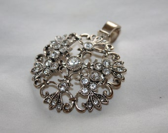 Vintage Rhinestone Pendant Necklace 1980s  Jewelry
