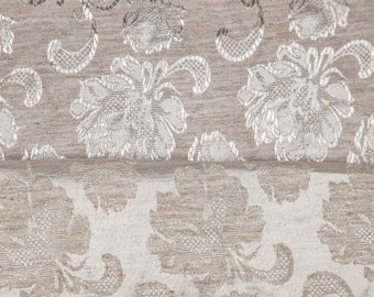"4 5/8 Yards of 45"" Vintage Damask Jacquard Woven Fabric. Roses. Light Silvery Beige. Satin Highlights. Apparel, Home Decor, Crafts. 0941AF"