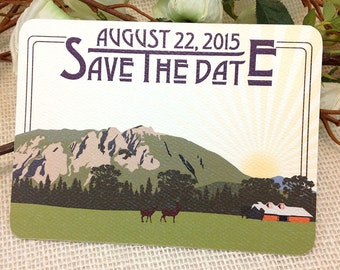 Mount Si Washington with Barn Save The Date Craftsman Postcard: Get Started Deposit or DIY Payment