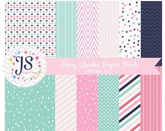 INSTANT DOWNLOAD, aqua and pink digital paper for commercial use or personal use