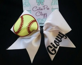 Softball Cheer Bow with Name or Number