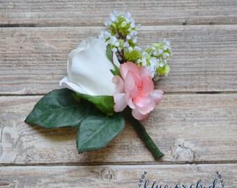 Cream and Pink Wedding Boutonniere - Silk Boutonniere, Rose Boutonniere, Groom Boutonniere