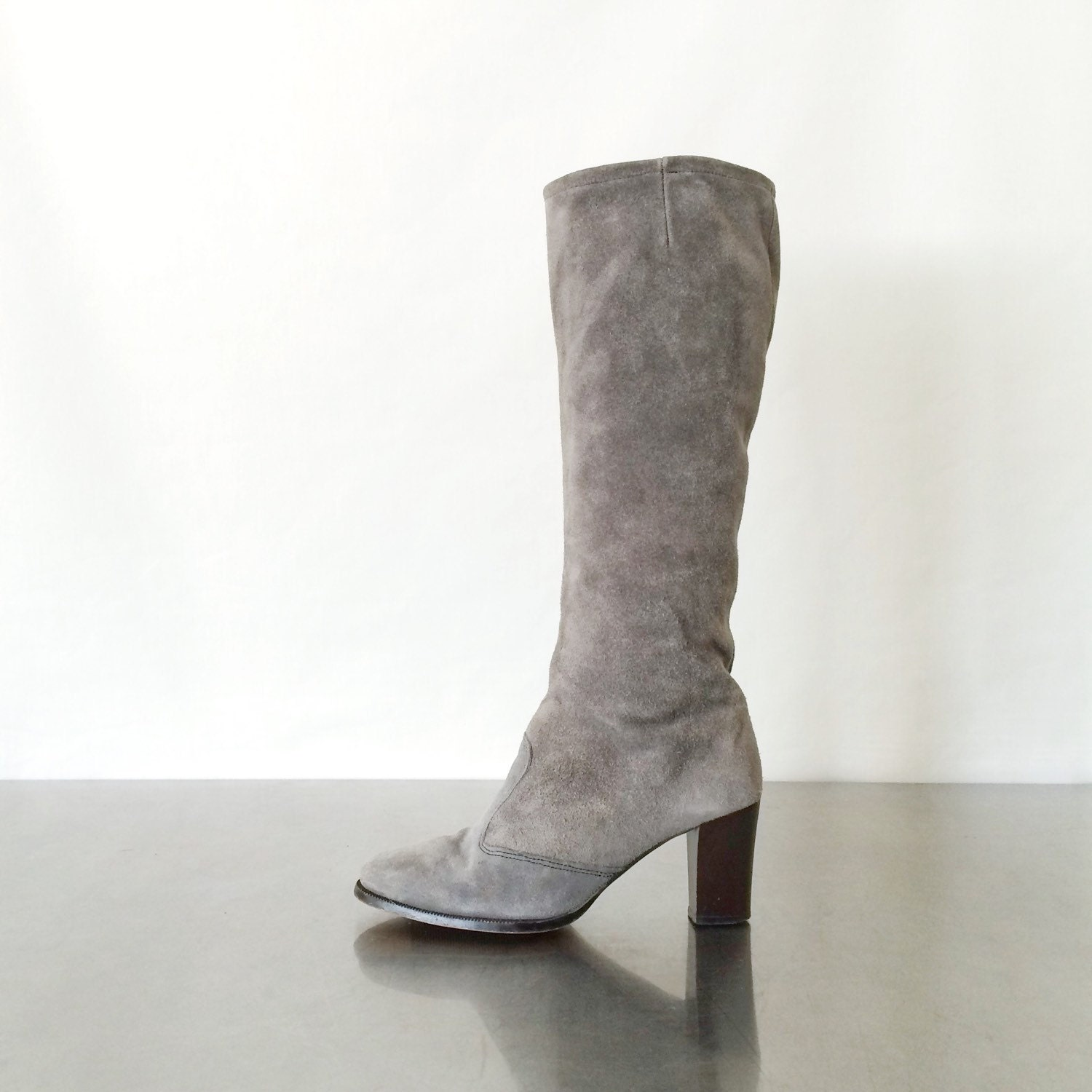 suede boots vintage knee high gray leather boots