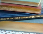 Agatha Christis, Murder on the Orient Express, vintage hardcover book from Bantam, Dark Navy and Gold cover, new condition for home staging