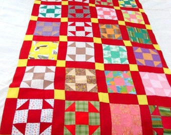 SALE INCREDIBLE Vintage Pair of HANDMADE Brand New Twin Quilts Red and Yellow Cotton Twin Bedspreads (2)