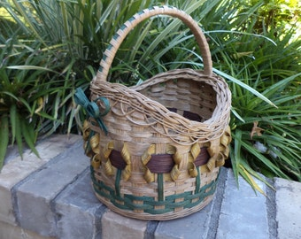 Sunflower Small Round Basket with Wrapped Handle and Braided Border Handwoven Basket