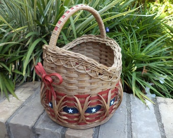 Americana Flag 4th of July Patriotic Stars and Stripes Old Glory Patriotic Round Basket Handwoven Basket
