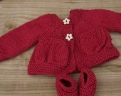 """Cardigan and Booties for 16"""" Waldorf Doll, 100% wool, Red"""