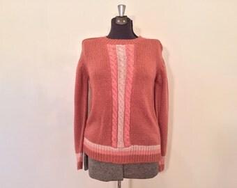 Vintage Pink Knit Sweater / Large/XL / Plus Size Sweater