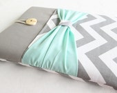 Macbook 11 air case, Surface pro 3 cover in grey and white chevron print.