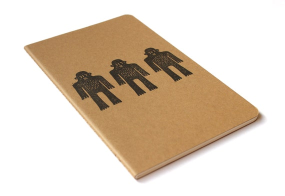 Moleskine notebook Sweet Yeti - printed by hand with three Bigfoot / Sasquatch / monster character illustration - A5 / medium - blank pages