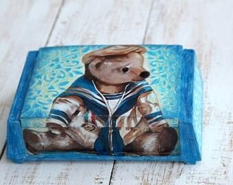 Bear Box, Its a Boy Gift, Boys Nursery Box, Teddy Bear Box, Bear Storage Box, Bear Jewelry Box, Baby Boy Room Box