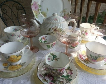 Complete English Mismatched Tea Set for 6 Instant Tea Party 28 Pieces Alice in Wonderland Tea Set