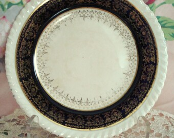 Vintage Dessert Plate Bread Butter Sovereign Potters Earthenware Canada Shabby Cottage Chic