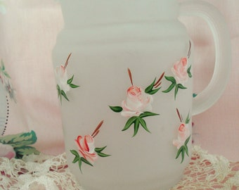 Vintage Satin Glass Pitcher Shabby Pink Rose Hand-painted Shabby Cottage Chic