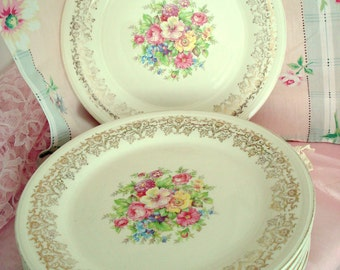 Vintage Wedding Dinner Plates Edwin M. Knowles Floral Plates Set of 10 Shabby Chic Cottage Vintage Bridal Shower