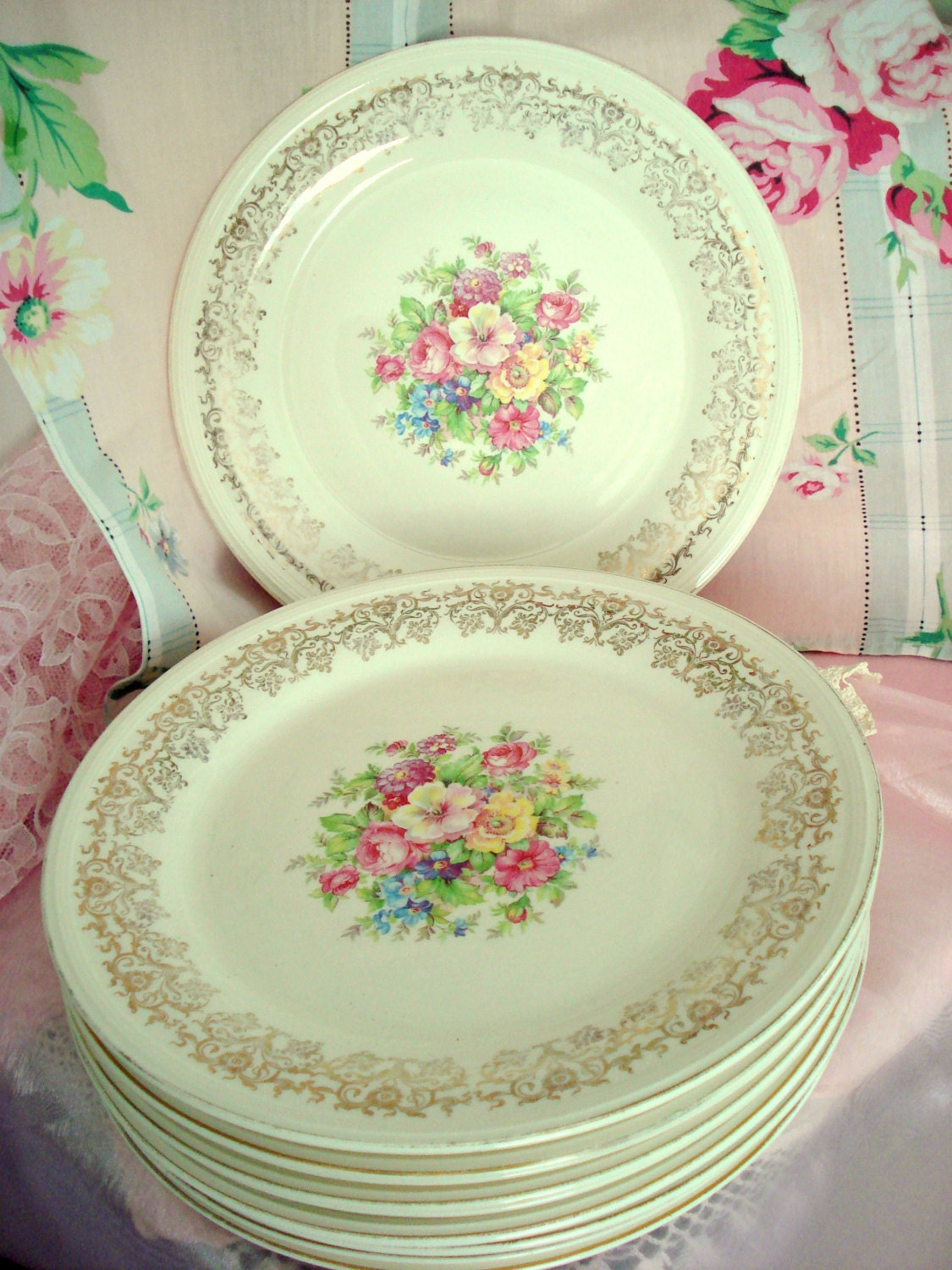 Vintage Wedding Dinner Plates Edwin M Knowles Floral Plates