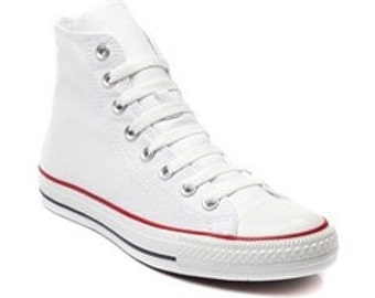 Childrens Kids High Top Youth Girls Custom Glass Slippers w/ Swarovski Crystal Rhinestone Bling White Chuck Taylor All Star Sneakers Shoes