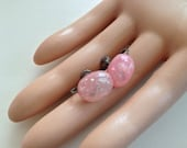 Vintage Pink Lucite Confetti Earrings / Japan