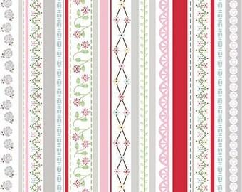 "Riley Blake Designs ""Polka Dot Stitches"" by Lori Holt - Red Stripe - 1/2 yard"