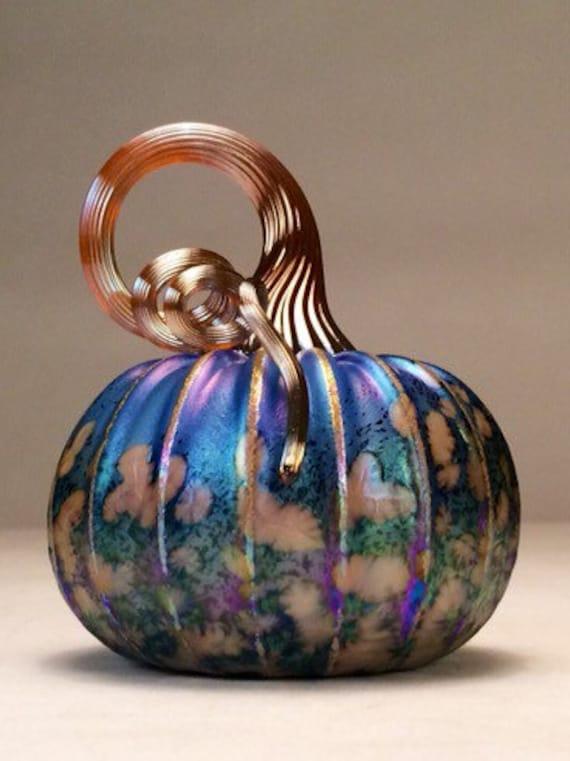 Jack Pine Hand Blown Glass Pumpkin Small Spring Meadow 50046