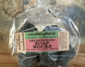 Deodorizing Soap Rocks with Activated Charcoal, Sea Salt & Essential Oils ~ Refill Pack. Shea Butter. Soap Rocks. Detox Soap.