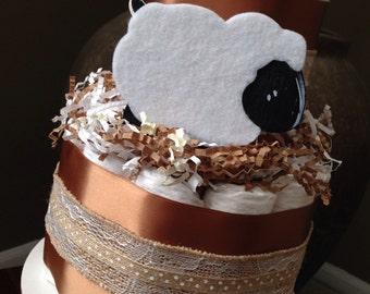 Little Lamb 2 Tier Diaper Cake   Shabby Chic Baby Baby Shower   New Baby Gift   Baby Shower Centerpiece   Little Lamb Baby Shower