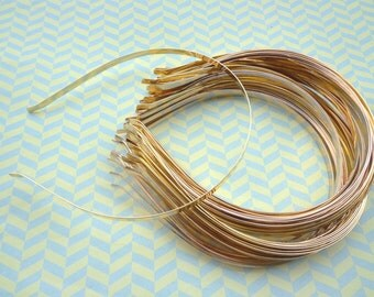 Gold Plated Metal Headbands - Lot of 20- thin 6mm wide